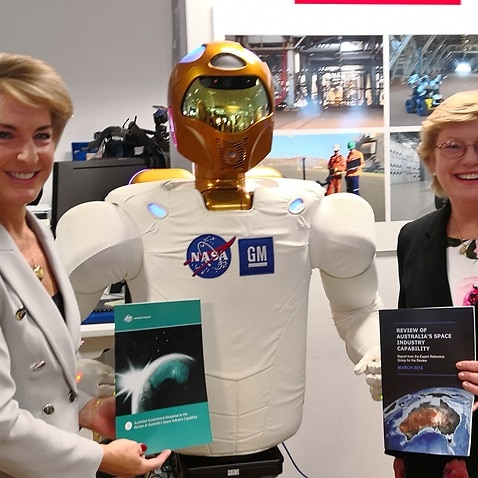 Senator Michaelia Cash and Dr Megan Clark with the NASA Robonaut