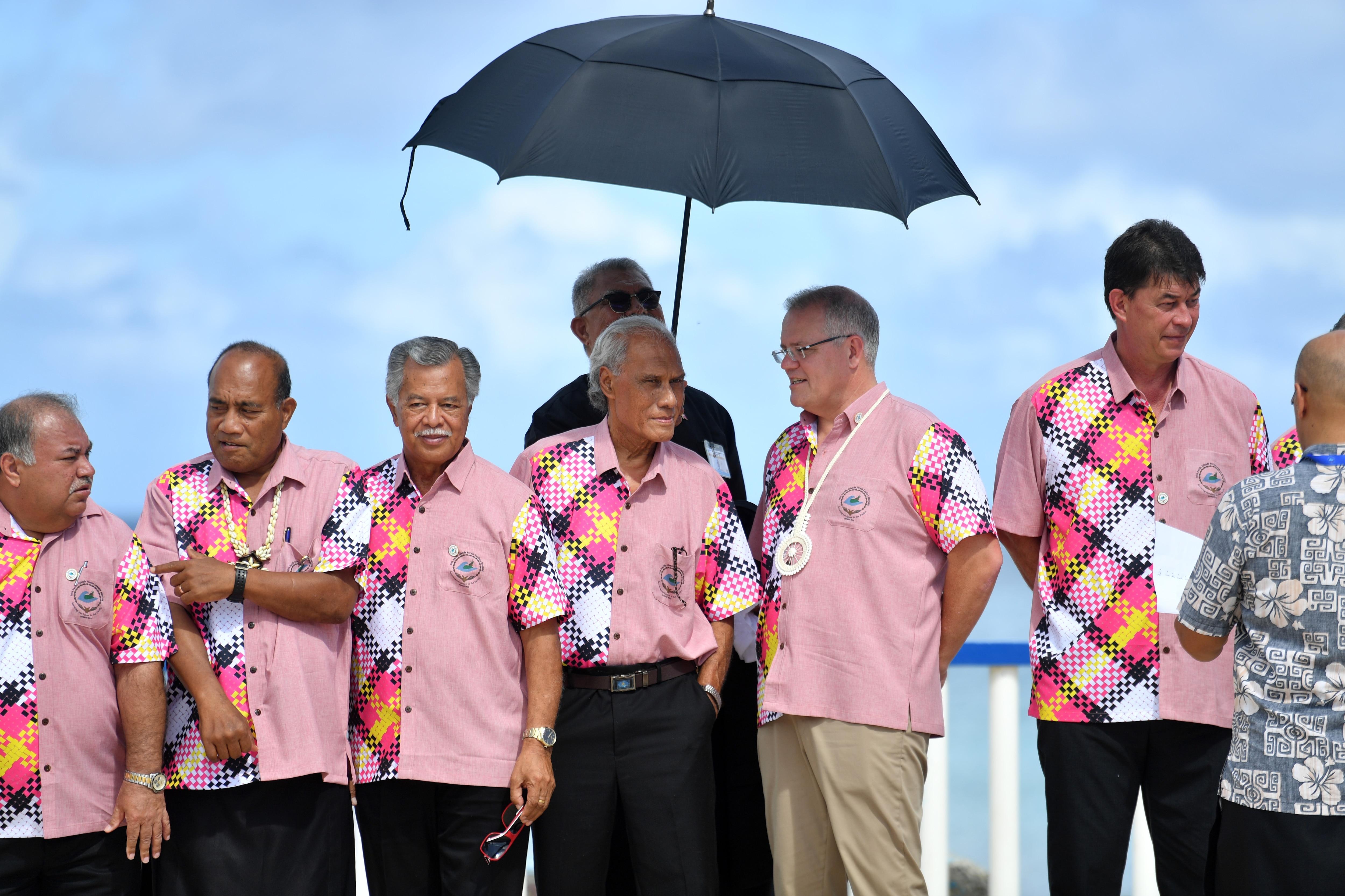World leaders, including Scott Morrison, at the Pacific Islands Forum in Funafuti, Tuvalu.