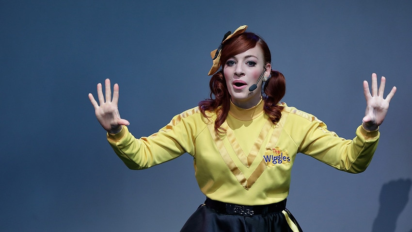 Emma Watkins performs with The Wiggles.
