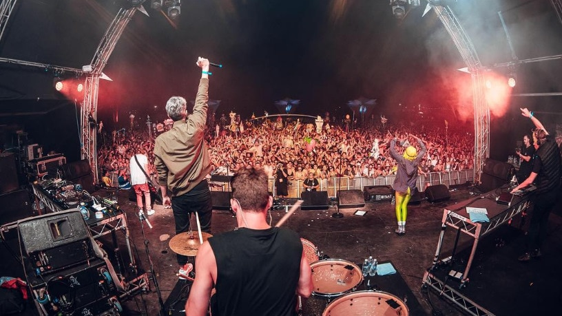 Pnau performing at the Lost Paradise Music Festival.