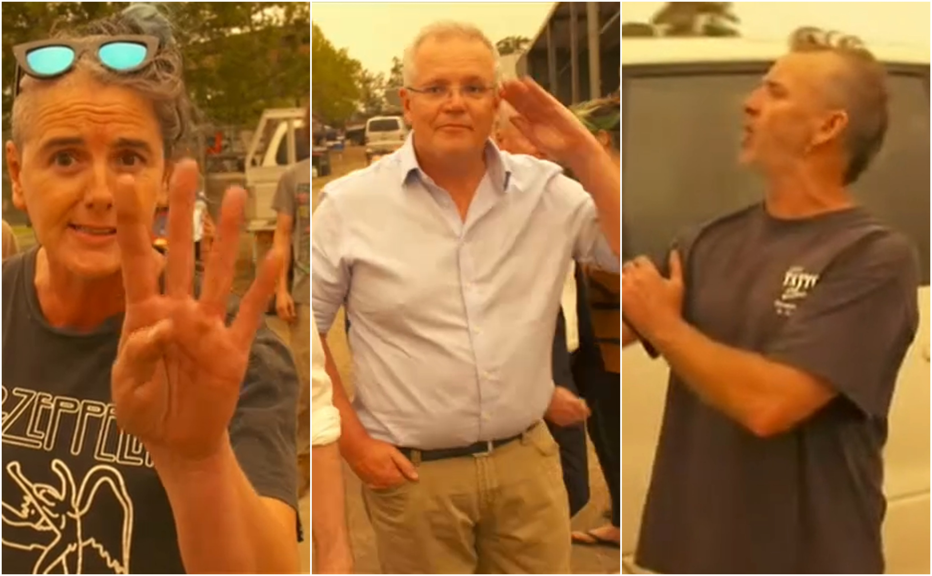 Prime Minister Scott Morrison is heckled as he tours a fire-ravaged community.