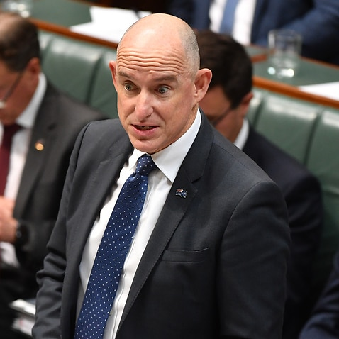 Minister for Government Services Stuart Robert during Question Time in the House of Representatives at Parliament House in Canberra, Monday, Feb. 10, 2020. (AAP Image/Mick Tsikas) NO ARCHIVING