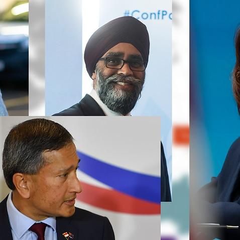 Preti Patel (UK), Harjit Sajjan (Canada), Kamala Harris (US) and Vivial Balakrishnan (Singapore)