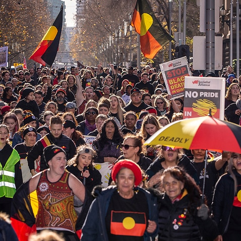 Australians in Melbourne celebrate Indigenous culture during a NAIDOC week march in Melbourne on 6 July 2018.