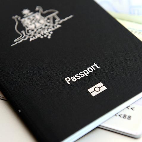 An Australian passport pictured in Brisbane