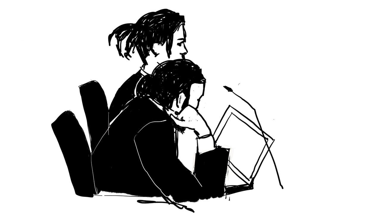 Rakim Athelaston Mayers alias A$AP Rocky (rear) and his defence lawyer Slobodan Jovicic (front) in the district court in Stockholm, Sweden.