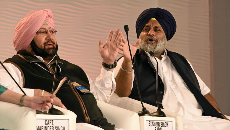 Captain Amarinder Singh and Sulkhbir Singh Badal during a discussion