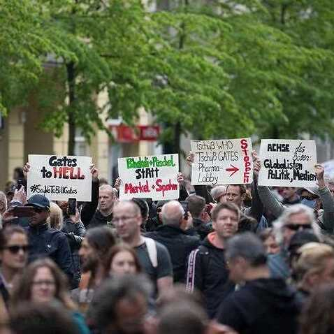 People protest against the coronavirus restrictions in Berlin, despite a ban on demonstrations