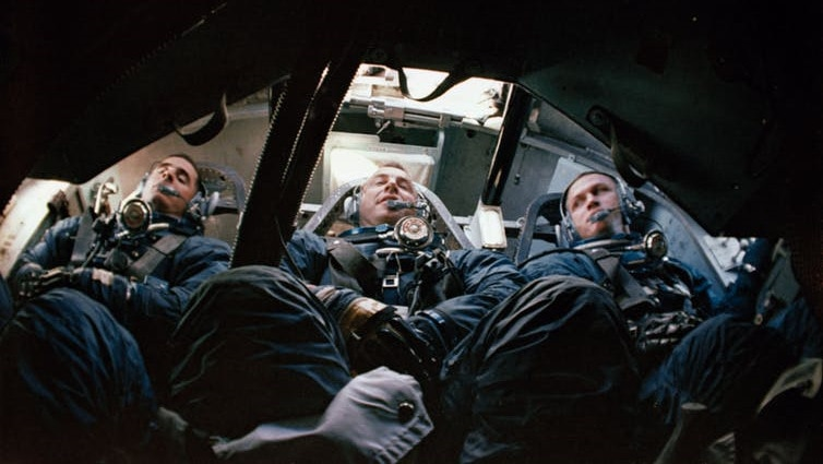 Astronauts (left to right) William Anders, James Lowell Jr. and Frank Bormann in training for the mission Apollo.