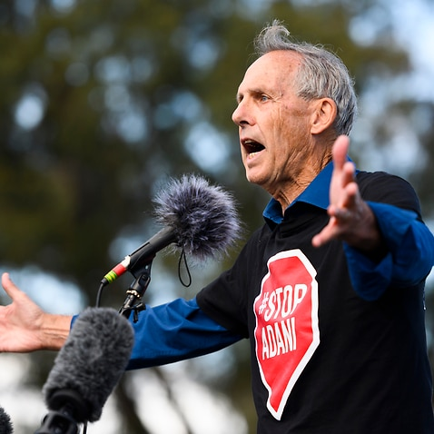 'It's up to us':  Bob Brown addresses thousands of protesters outside Parliament House.