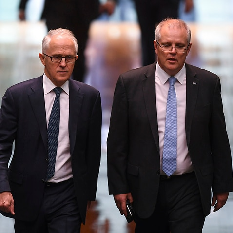 Malcolm Turnbull (left) and Scott Morrison (right) at Parliament House in Canberra, Thursday, August 23, 2018.