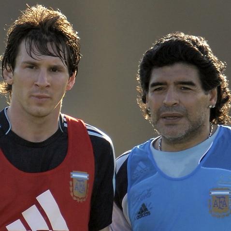Lionel Messi (L), Diego Maradona