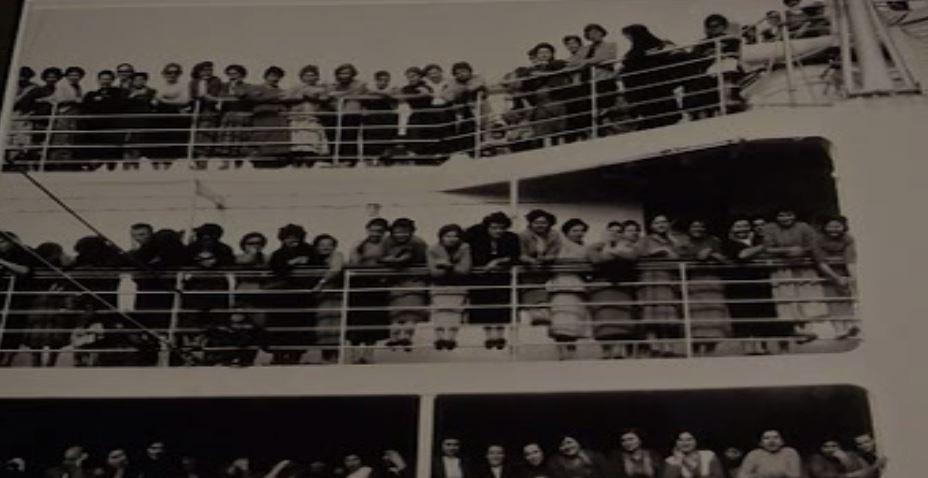 Greek women aboard the Begona in 1957.