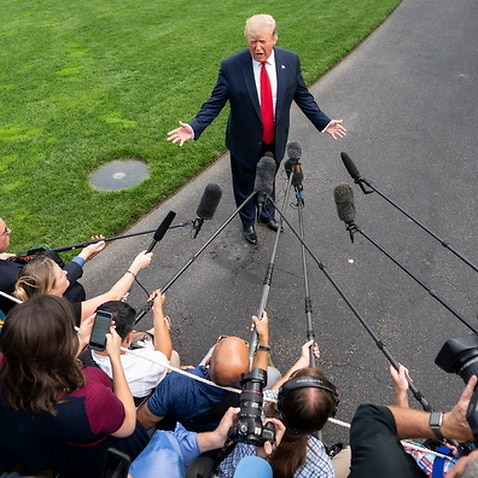 US President Donald J. Trump speaks to the media as he departs the White House for a campaign event in Florida in Washington, DC, USA, 18 June 2019.