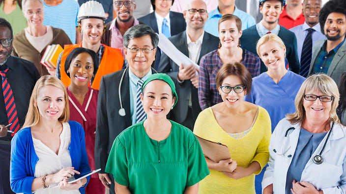 Australian New Regional Visas Large Group of Diverse People with Different Occupations (Getty Images)
