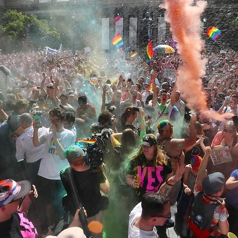 The crowd react to the same-sex marriage postal survey Yes result.