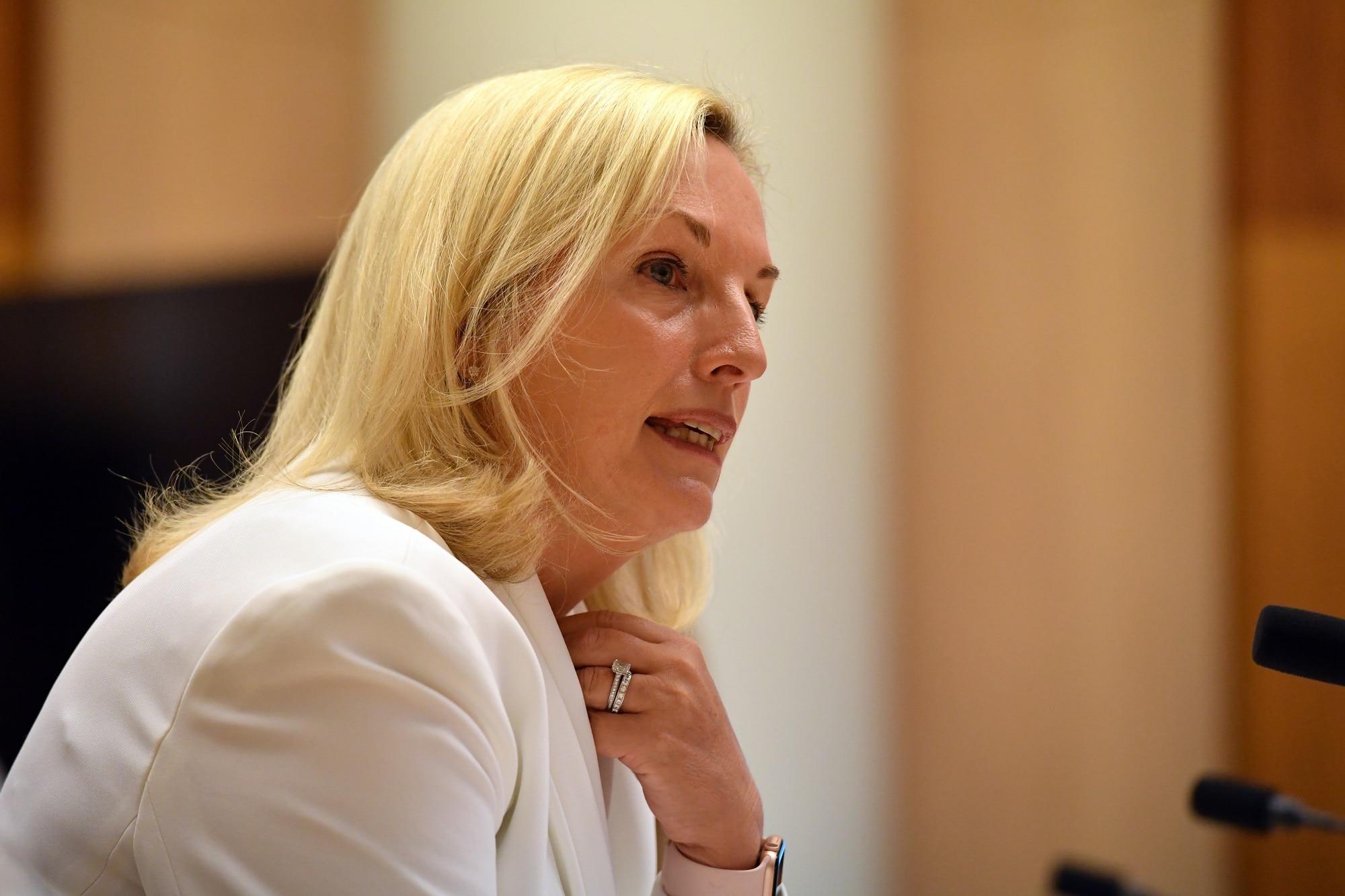 Former Australia Post CEO Christine Holgate appearing before a Senate inquiry.