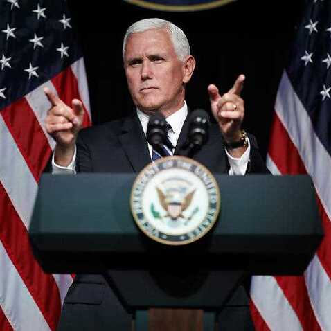Vice President Mike Pence gestures during an event on the creation of a U. S. Space Force, Thursday, Aug. 9, 2018, at the Pentagon.