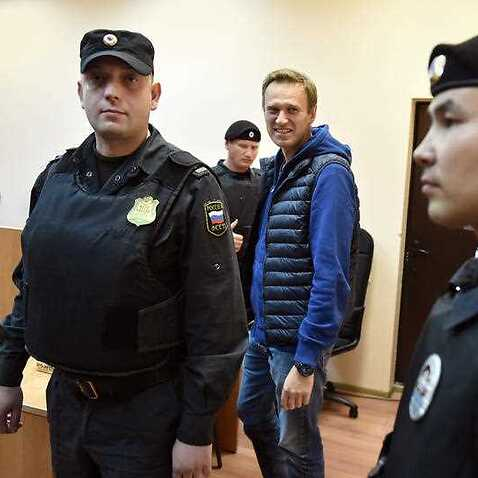 Russian opposition leader Alexei Navalny during his court hearing.