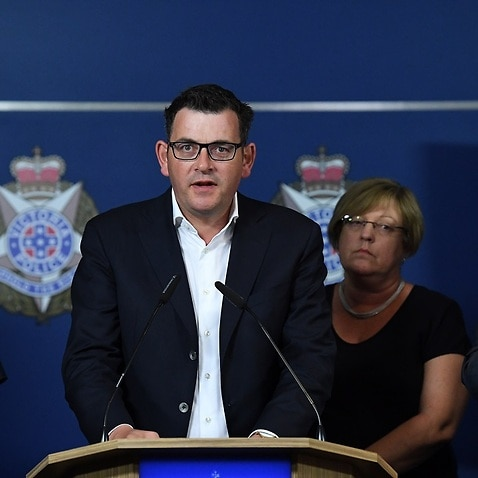 Victorian Premier Daniel Andrews at a media conference after a speeding car ploughed through pedestrians at Flinders Street in Melbourne's CBD.