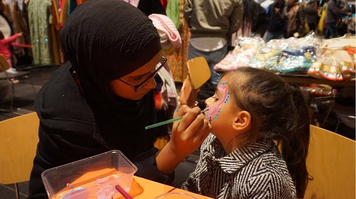 Face painting at Chand Raat Eid Festival