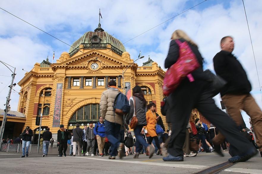 A crowd outside Melbourne's Flinders Street Station.
