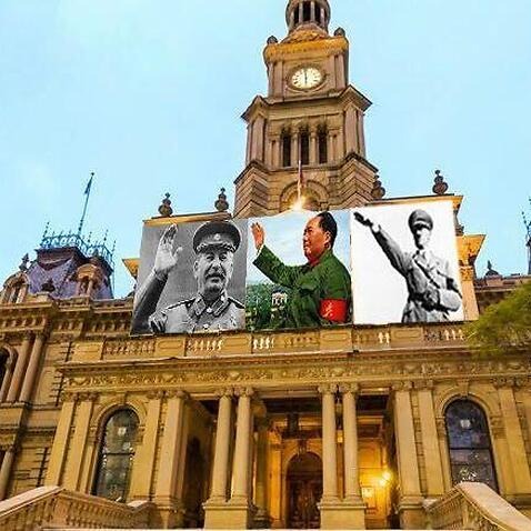 An image of the Sydney Town Hall mocked up by people opposed to the Mao tribute concerts