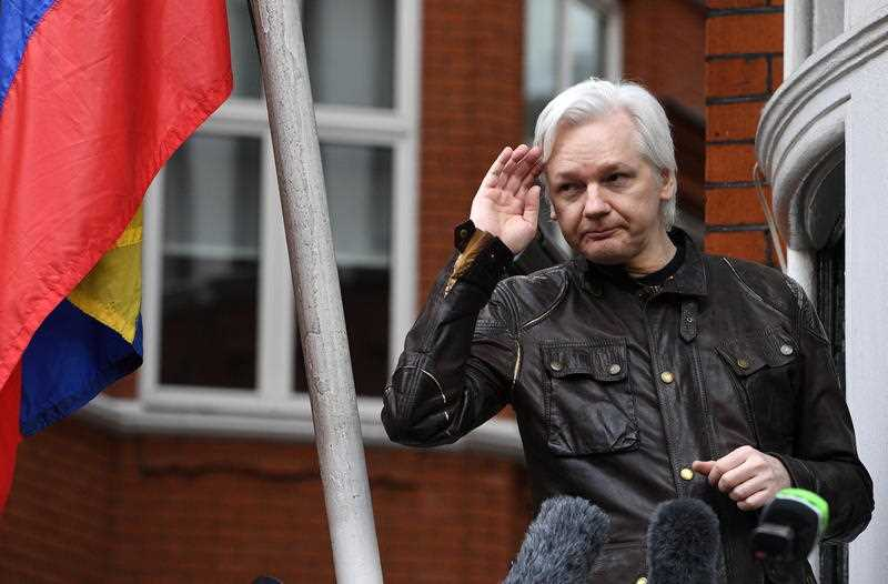 The Wikileaks founder outside the Ecuadorian Embassy in London, Britain.