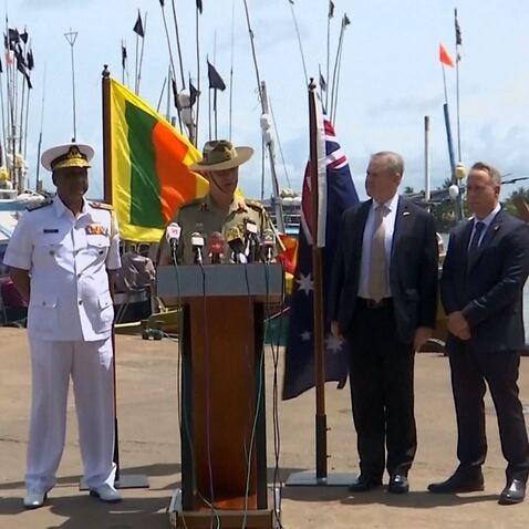 Australia's Major General Craig Furini and Sri Lanka's Narija Artigalle at the Port in Negombo