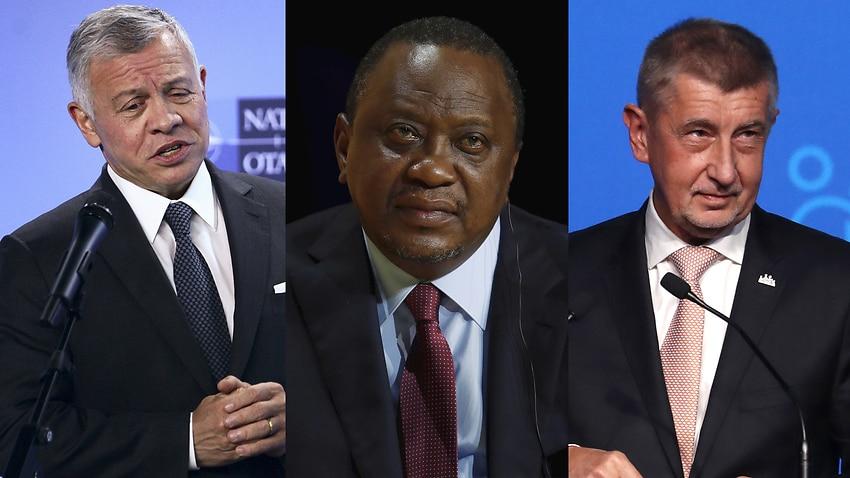 (From L) Jordan's King Abdullah II, Kenya's President Uhuru Kenyatta and Czech Republic's Prime Minister Andrej Babis