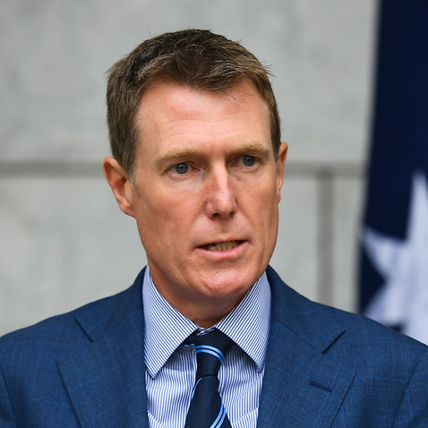 Attorney-General Christian Porter speaks to the media during a press conference.