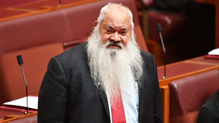 Labor Senator Pat Dodson in the Senate chamber at Parliament House in Canberra.