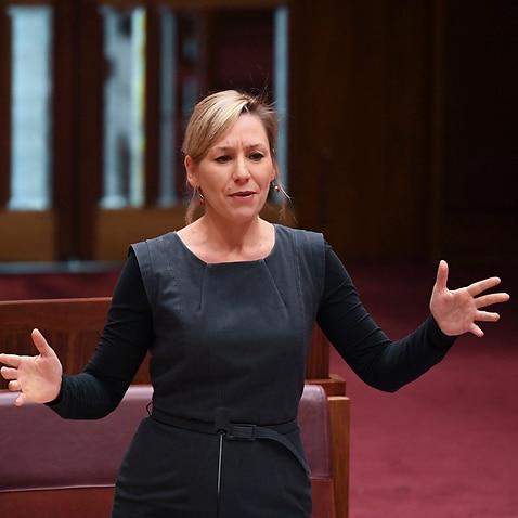 オーストラリア緑の党の上院議員ラリッサウォーターズは、キャンベラの国会議事堂の上院で講演します。