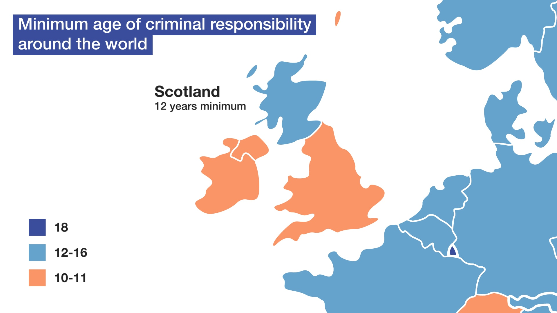 Minimum age of criminal responsibility around the world.