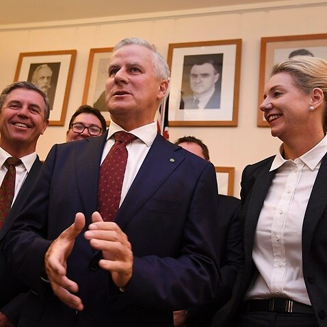 Newly elected deputy PM and Nationals leader Michael McCormack addresses the media following the party room meeting.