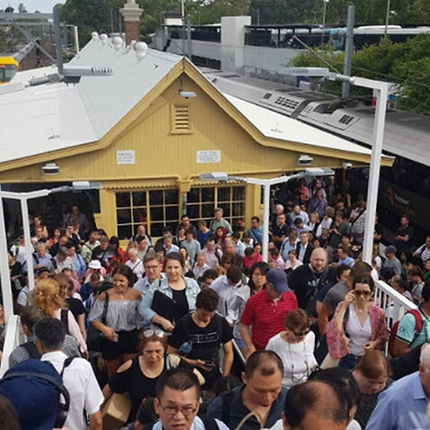 Photos show overcrowding of Gordon railway station in Sydney earlier this week.