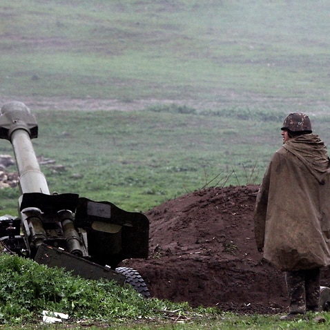 A file photo of an Armenian soldier in Martakert, Nagorno-Karabakh, 3 April 2016.