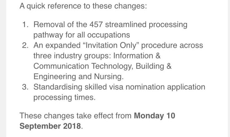 Significant changes to the Victorian State Nomination Program