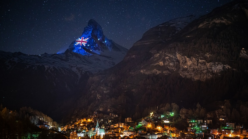 Australian flag projected on Swiss Alps in message of hope – SBS News