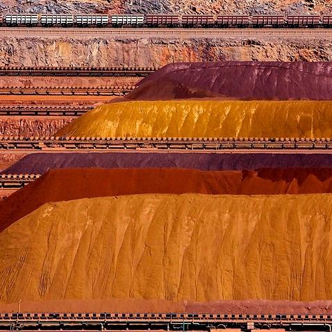Iron ore piles at Parker Point, Dampier, Western Australia.