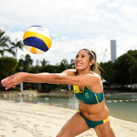 Taliqua Clancy poses during an announcement of the Tokyo 2021 Olympics Australian Beach Volleyball for the team in Brisbane, Thursday, June 24, 2021. (AAP Image/Albert Perez) NO ARCHIVING