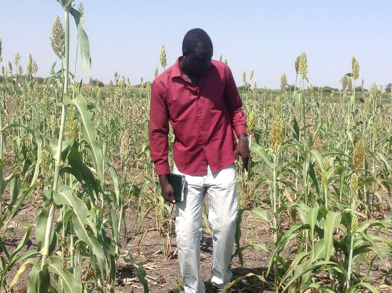 Thuch Ajak in the farm while he was in South Sudan