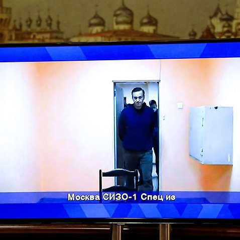 Alexei Navalny appears on a videolink screen at a hall of the Moscow Regional Court