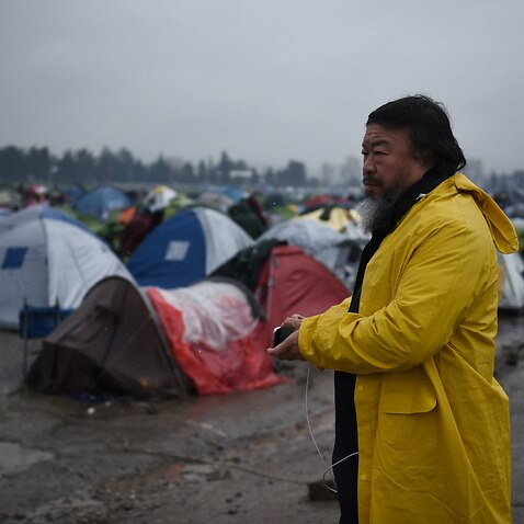 Chinese artist Ai Weiwei a camp set by migrants at the Greek-Macedonian border near the Greek village of Idomeni in 2016.