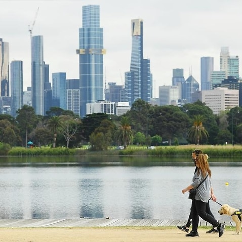 People are seen exercising in Melbourne