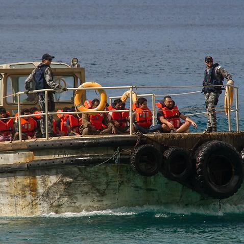 File: A group of asylum seekers arrive on Christmas Island
