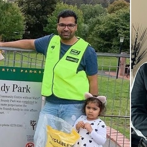 Australian Nurse Qasim Mehmood with his daughters in a park before COVID-19. (Right) Qasim at his home in self-isolation.