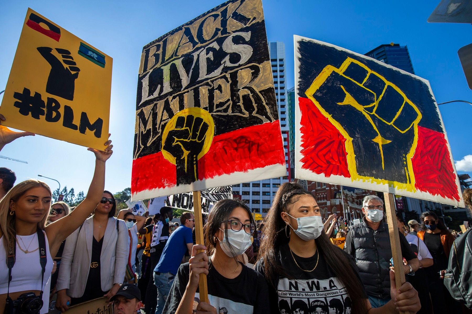 Protesters participate in a Black Lives Matter rally in Brisbane, 6 June 2020.