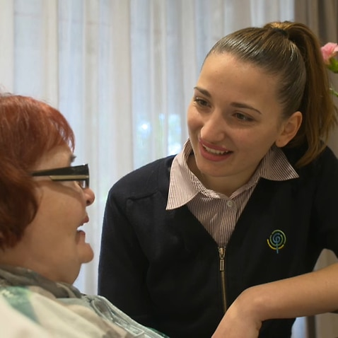 Greek aged care worker Jenny with a Fronditha care resident