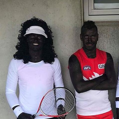 Australian athletes wear blackface as Serena and Venus Williams